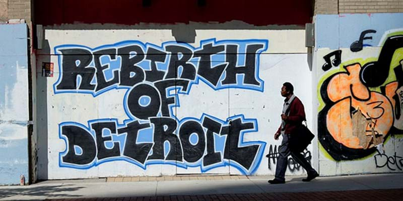 Graffiti trumpets the rebirth of Detroit in Capitol Park. 2014, Photo Credit & (c) James Fassinger/Corbis