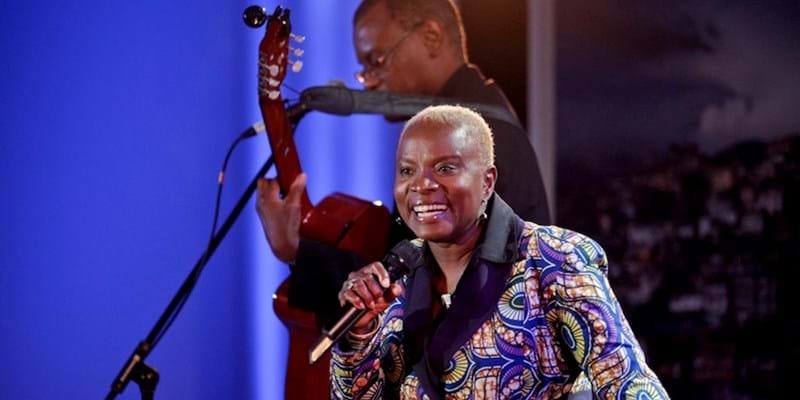 Grammy award-winning recording artist Angélique Kidjo performs at Beyond Conventions. 2011. This image is not available under 4.0 Creative Commons license.