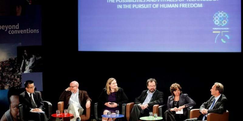 Panelists discuss The Possibilities and Pitfalls of Technology in the Pursuit of Human Freedom. 2011. This image is not available under 4.0 Creative Commons license.