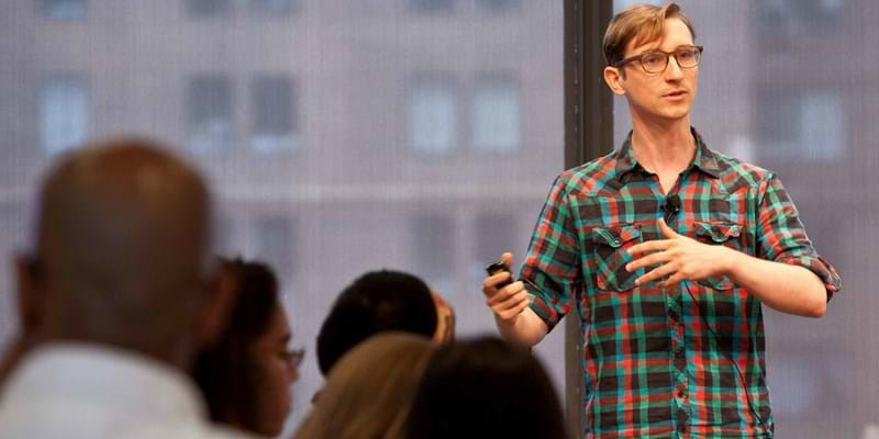 Jake Porway on matching nonprofits in need of data analysis with pro bono data scientists. 2012. This image is not available under 4.0 Creative Commons license.