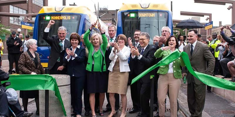 Minnesotans celebrate the opening of the Green Line. This image is unavailable under the 4.0 Creative Commons license.