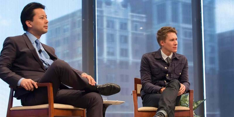Lunch discussion with Dustin Lance Black and Kenji Yoshino. 2012. Photo credit: Simon Luethi (c) Ford Foundation