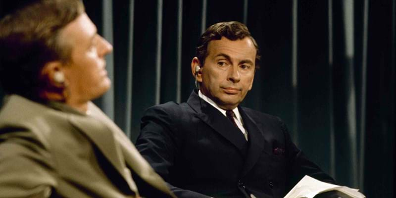 William Buckley and Gore Vidal in conversation from the documentary film Best of Enemies. This image is not available under the 4.0 Creative Commons license.