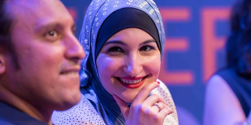 Linda Sarsour, executive director of the Arab American Association of New York, in conversation with Halal in the Family star and creator Aasif Mandvi. 2015. Photo credit: Simon Luethi (c) Ford Foundation