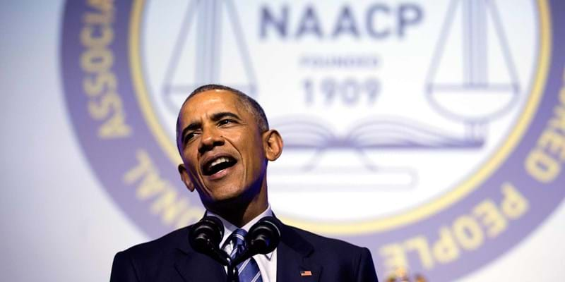 President Barack Obama speaks at the NAACP's national convention at the Philadelphia Convention Center. Philadelphia, PA. July 14, 2015.  Photo Credit: Doug Mills. (c) The New York Times
