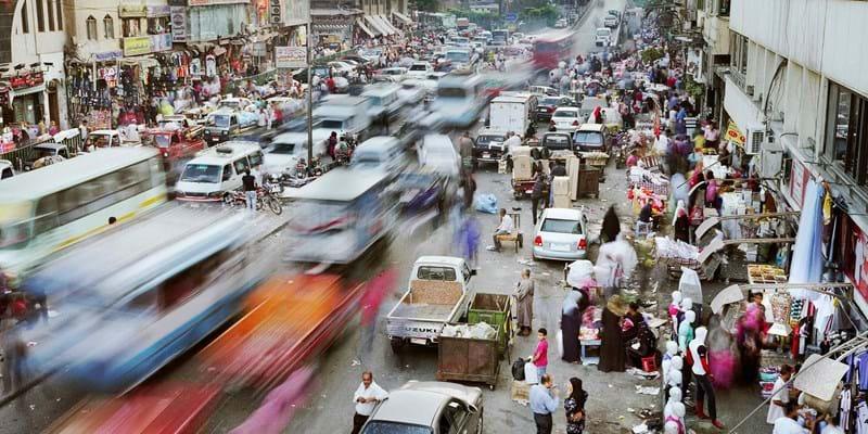 Busy market scene