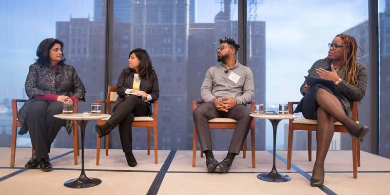 Rights Now panelists at event. New York. 2015. Photo Credit: Simon Luethi