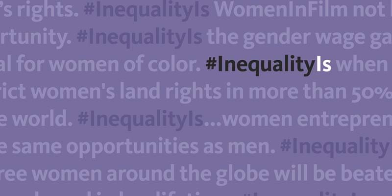 Inequality Is typographic treatment  of title, Inequality Is
