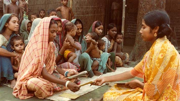 A Ford-funded project in Bangladesh developed into Grameen Bank,  a pioneer of microcredit institutions, that offered small loans to disenfranchised people, especially women, to start their own businesses, and helped millions worldwide. 1982. Photo Credit: © Ford Foundation