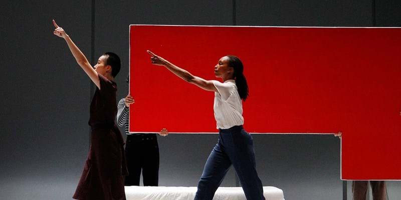 "Two dancers in Bill T. Jones ""Analogy/Dora: Tramontane"", based on holocaust oral history. Photo credit: Paul Goode"