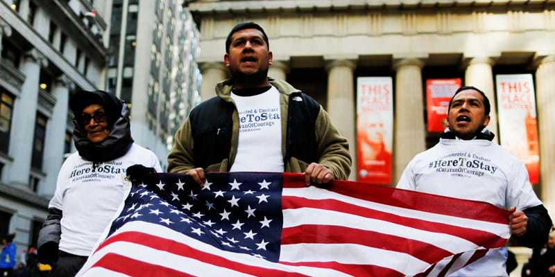 """Dreamers"" march outside a Trump building to launch ""Caravan of Courage"" in New York. (Photo credit: EDUARDO MUNOZ ALVAREZ/AFP/Getty Images)"
