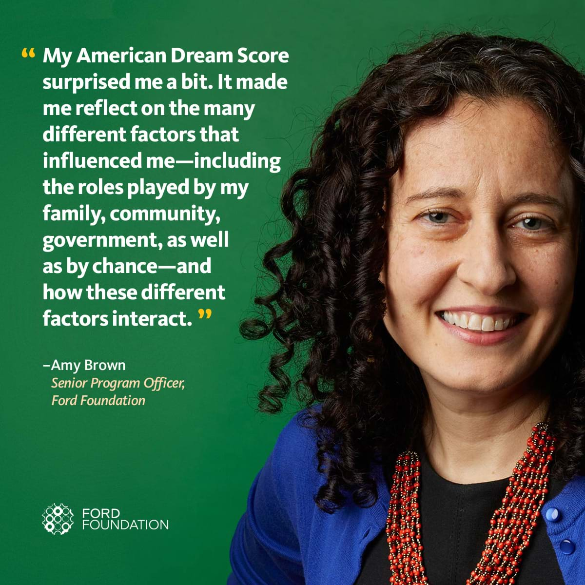 Photo of Amy Brown with a quote about her American Dream Score