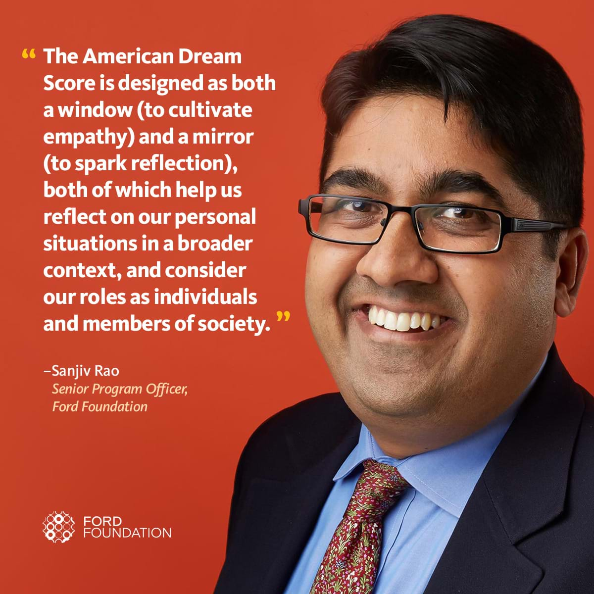 Photo of Sanjiv Rao with a quote about his American Dream Score