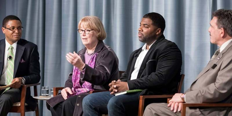 Doug Wood, Ellen Condliffe Lagemann, Dorell Smallwood, and Anthony Annucci discuss the education in prison