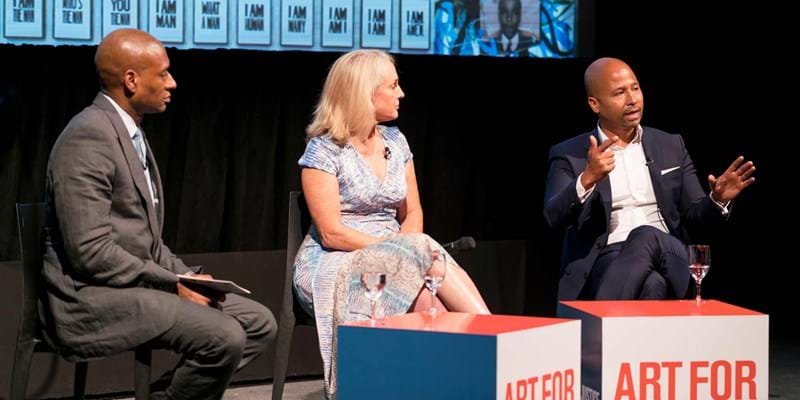 "Charles Blow, Piper Kerman, and Glenn E. Martin discuss criminal justice at ""Art for Justice Fund"" event. Credit Simon Luethi"