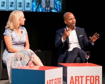 """Charles Blow, Piper Kerman, and Glenn E. Martin discuss the state of the criminal justice system at the """"Art for Justice Fund"""" launch. Photo credit: Simon Luethi"""