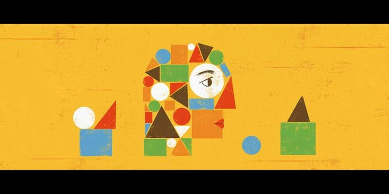 Evocative illustration of head made up of geometric shapes