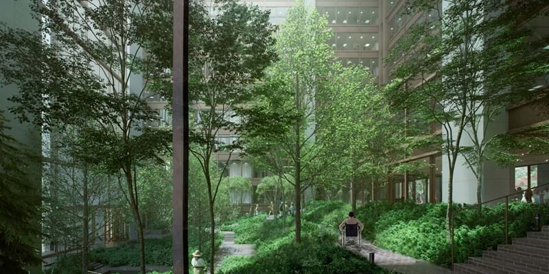 Ford Foundation Center for Social Justice Atrium Garden. Architect: Kevin Roche John Dinkeloo and Associates. Renovation Architect: Gensler