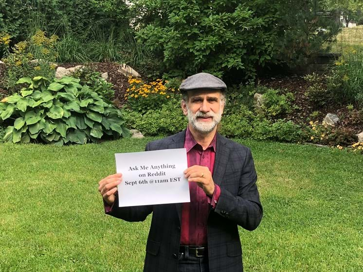 Bruce Schneier holding his AMA announcement
