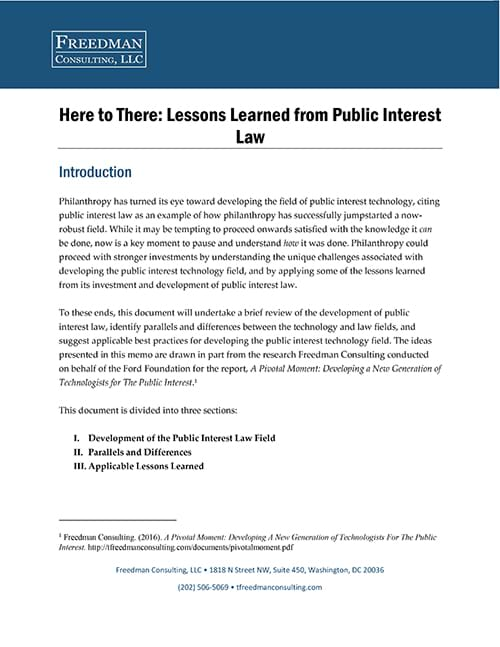 Lessons Learned from Public Interest Law