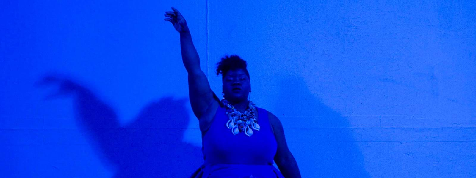 Vanessa German performing in Aetna Theater, Wadsworth Atheneum Museum of Art 2016. Photo Allen Phillips