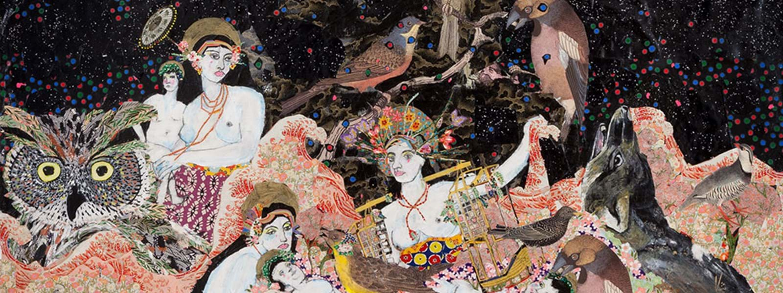 Maria Berrio | Nativity, 2014 | Collage with Japanese paper, acrylic and watercolor paint, pencil, and rhinestones