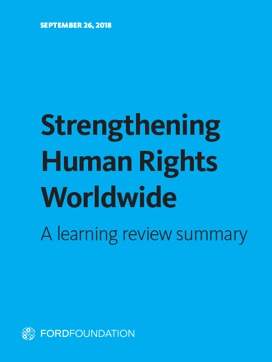 Strengthening Human Rights Worldwide: A Learning Review Summary report cover