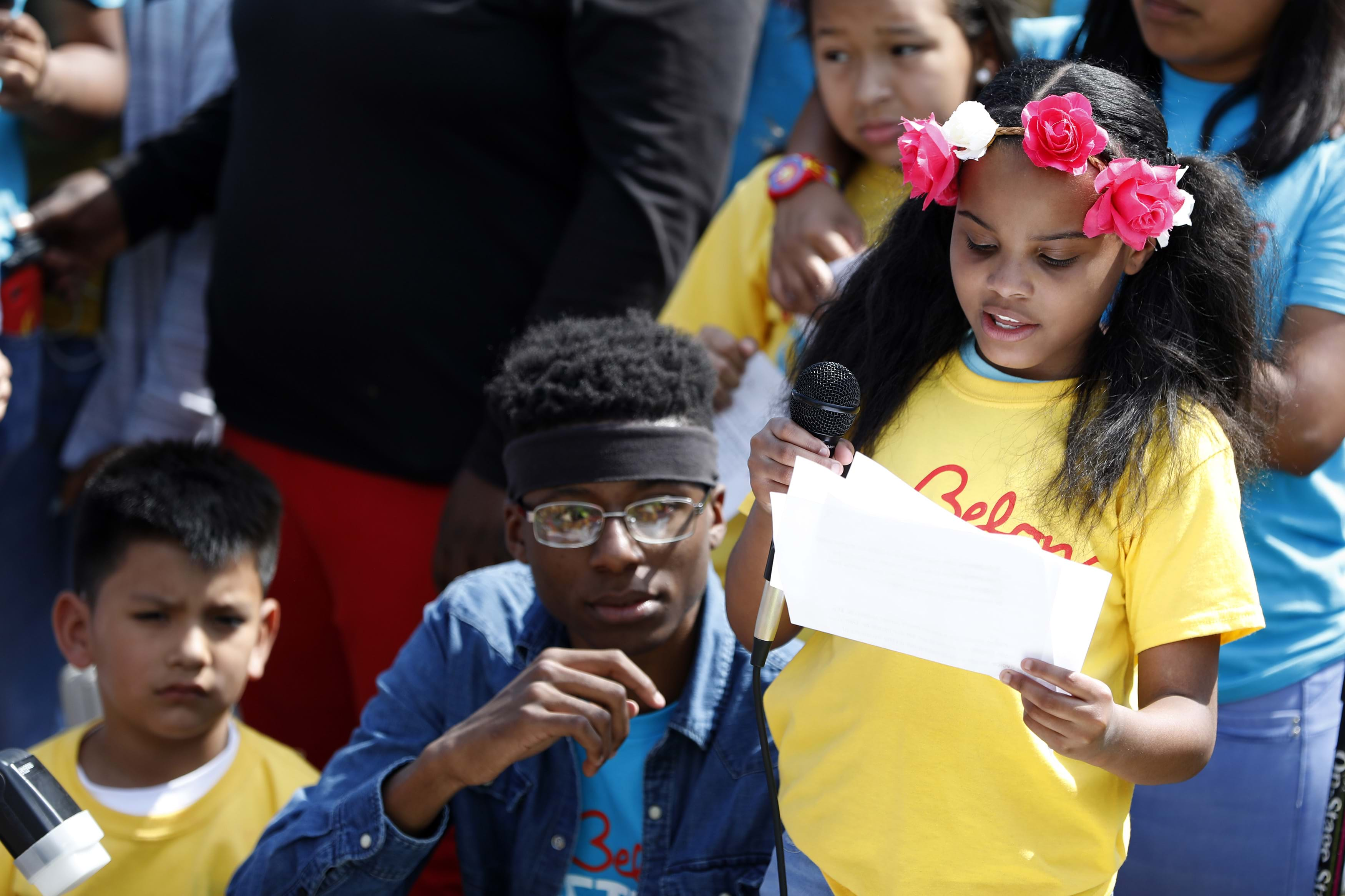 "Amariyanna Copeny, also known as Little Miss Flint, speaks during the ""Stand Up to Trump"" rally outside the White House April 13, 2017 in Washington, DC."
