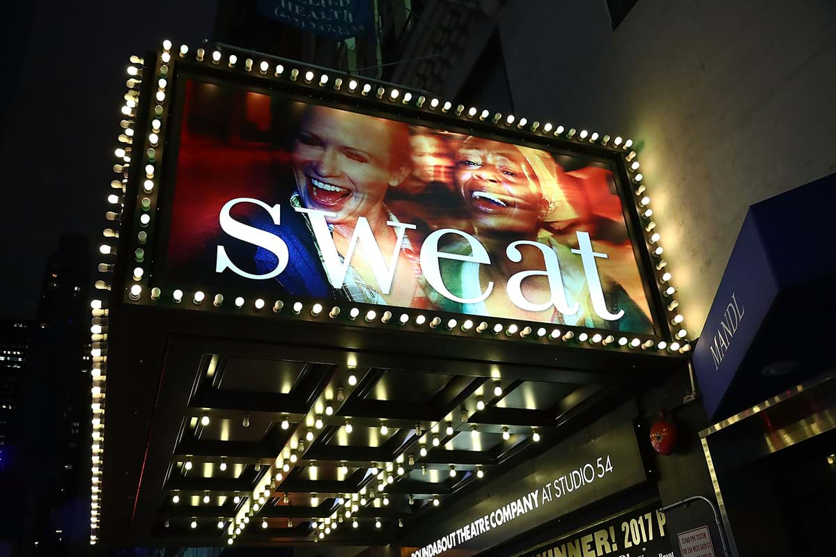 Broadway marquee of Sweat