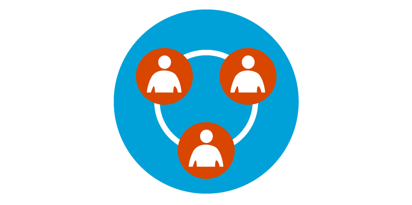 Blue circle with three red circles containing people icons