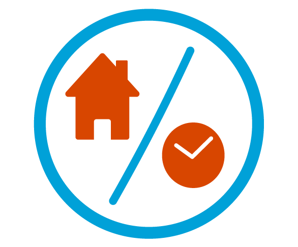 Blue circular outline with a red house and clock icons