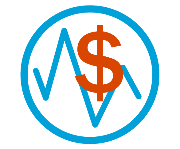Blue circular outline with a blue line graph and red dollar symbol