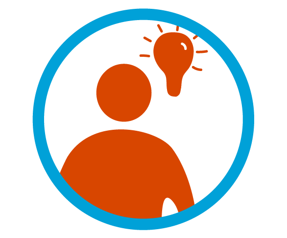 Blue circular outline with a red person icon and light bulb