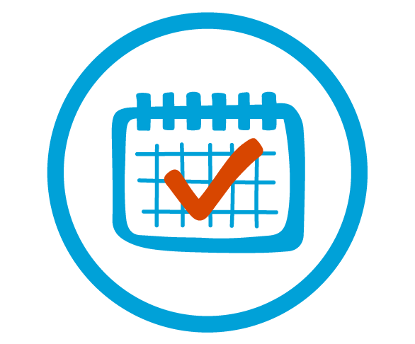 Blue circular outline with a blue calendar illustration with a red check mark in the middle