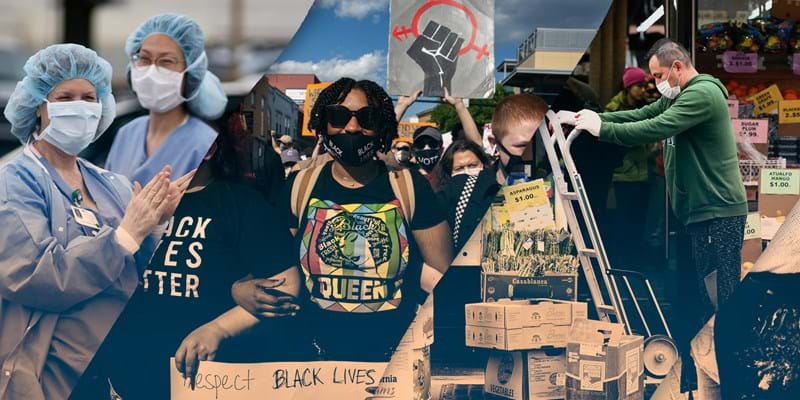 A collage with healthcare workers, protesters, grocery workers, and a muralist.