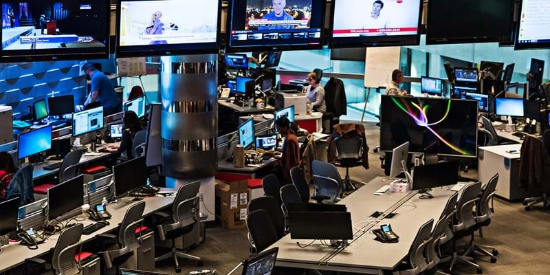 Overhead shot of the CNN news room