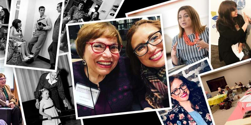 A collage of historical and recent photographs of Judy Heumann and Katherine Perez at work. Judy has short brown hair, red glasses, and sits in a wheelchair. Katherin has shoulder length brown hair and black glasses.