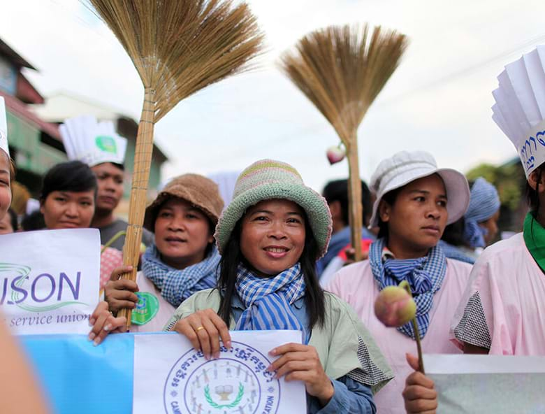 Women demonstrate for labor rights in Phnom Penh, Cambodia.