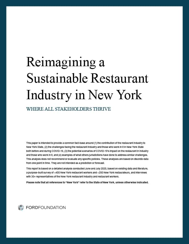 Cover of Reimagining a Sustainable Restaurant Industry in New York report