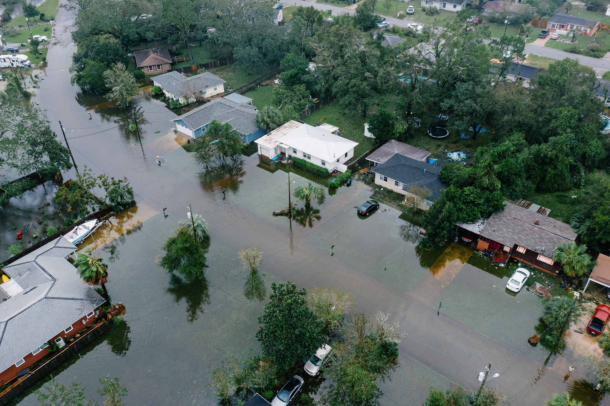 An aerial view of a town in Louisiana flooded after a hurricane.