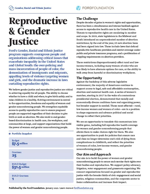 First page of the GREJ - Reproductive & Gender Justice