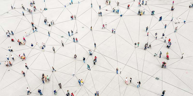 Aerial view showing clusters of people connected by lines. Photo Orbon Alija.